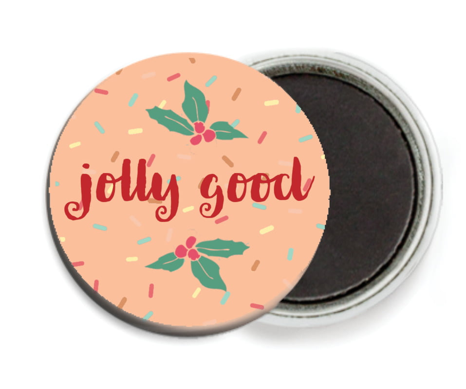 custom button magnets - peach - cupcake cheer (set of 6)