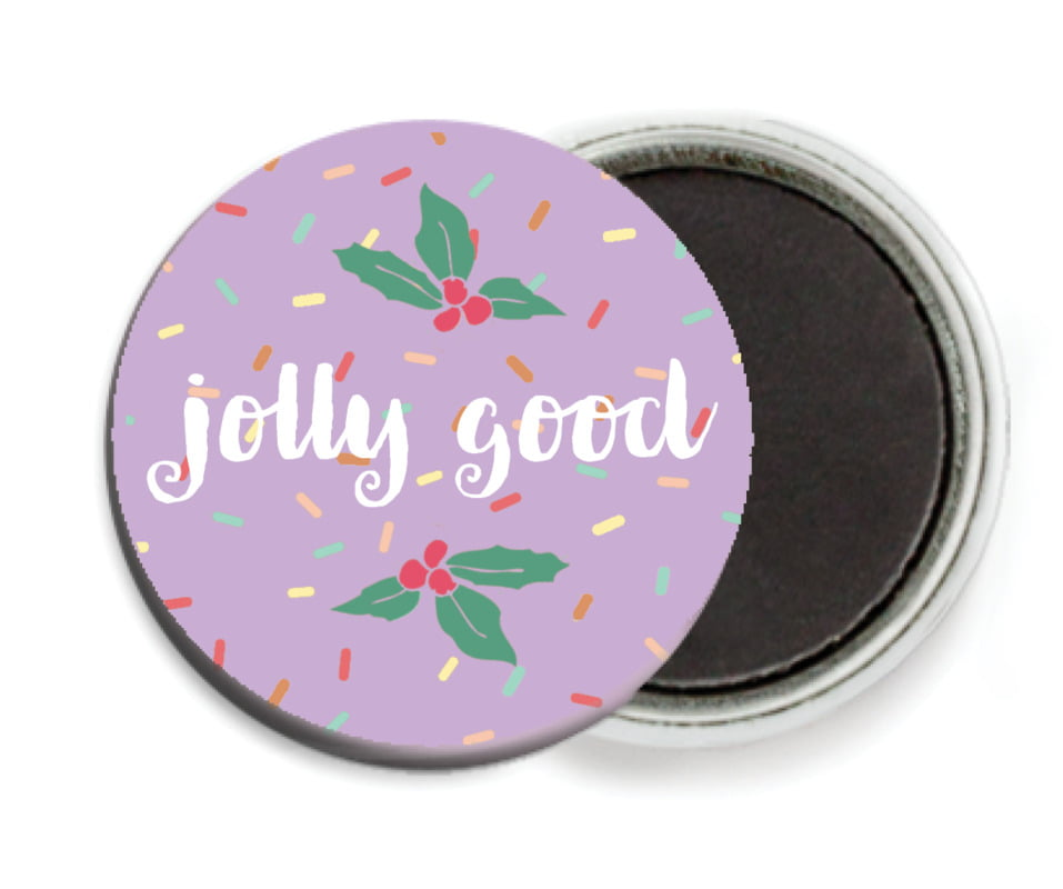 custom button magnets - purple - cupcake cheer (set of 6)