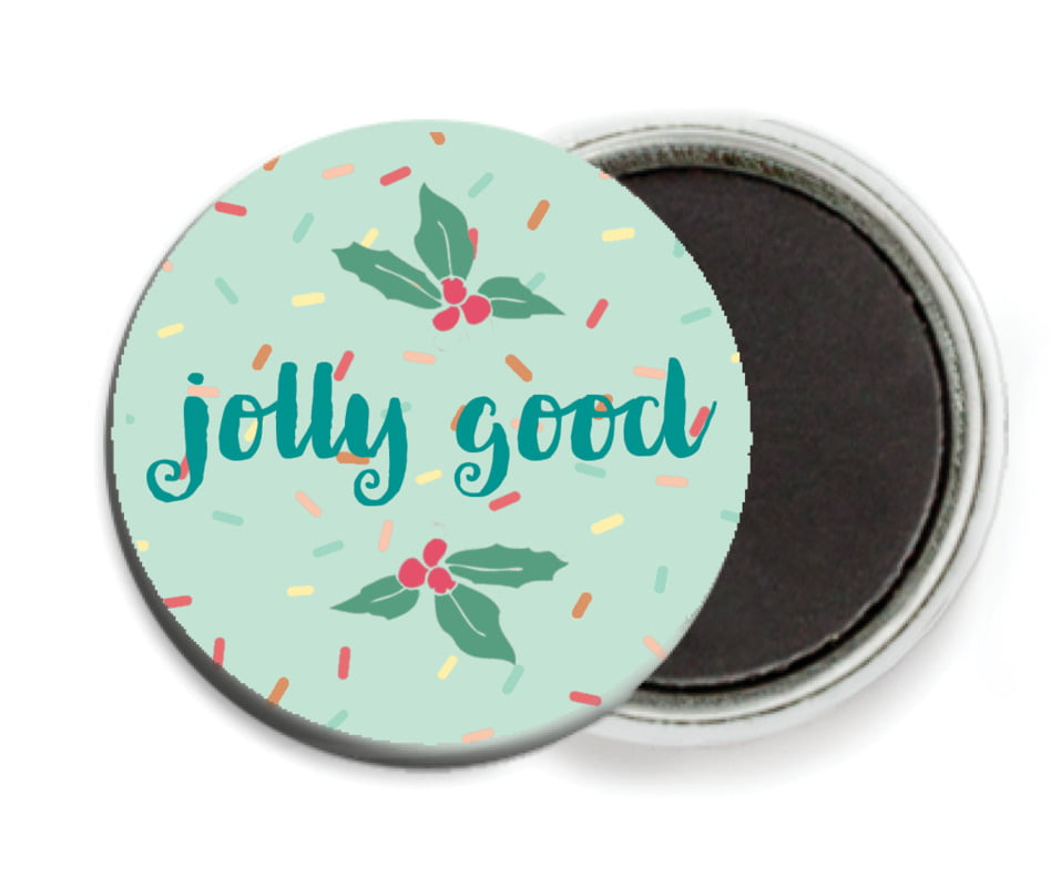 custom button magnets - mint - cupcake cheer (set of 6)