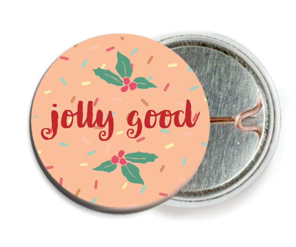 custom pin back buttons - peach - cupcake cheer (set of 6)