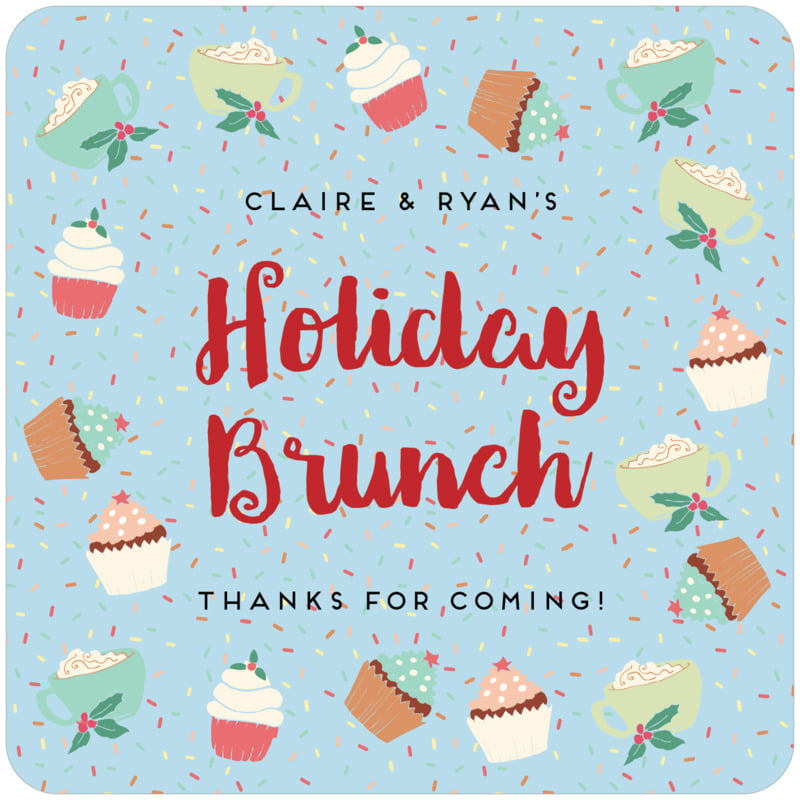 square holiday coasters - sky - cupcake cheer (set of 12)