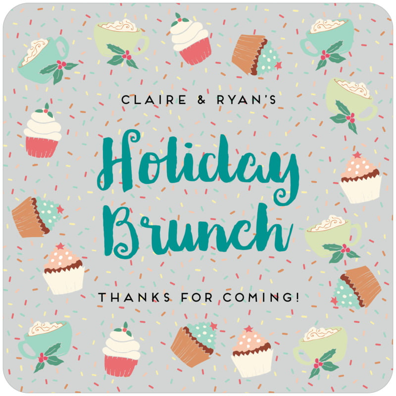 square holiday coasters - stone - cupcake cheer (set of 12)