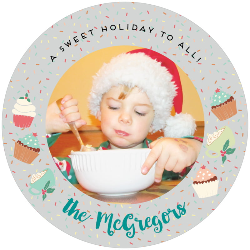 round holiday coasters - stone - cupcake cheer (set of 12)