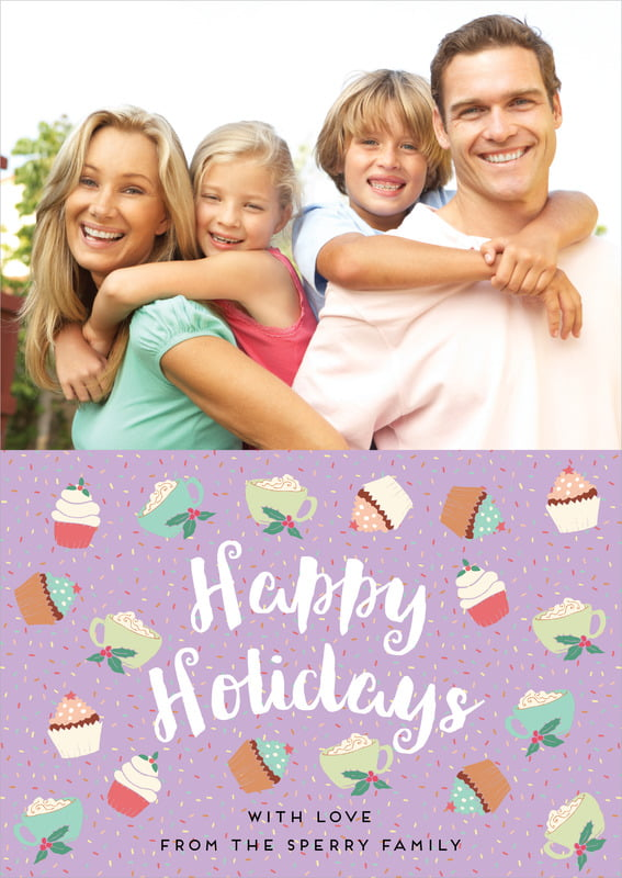 holiday cards - purple - cupcake cheer (set of 10)