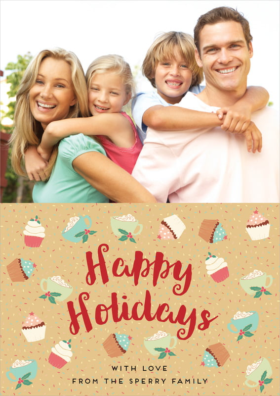 holiday cards - deep gold - cupcake cheer (set of 10)