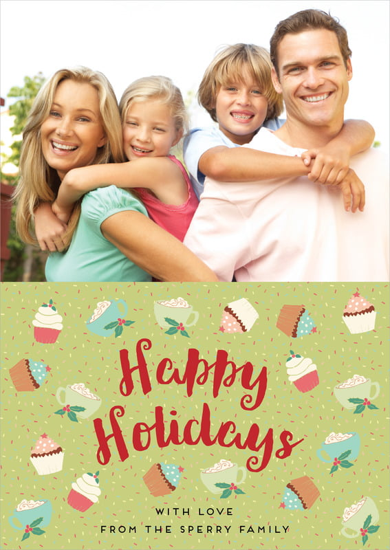 holiday cards - green tea - cupcake cheer (set of 10)