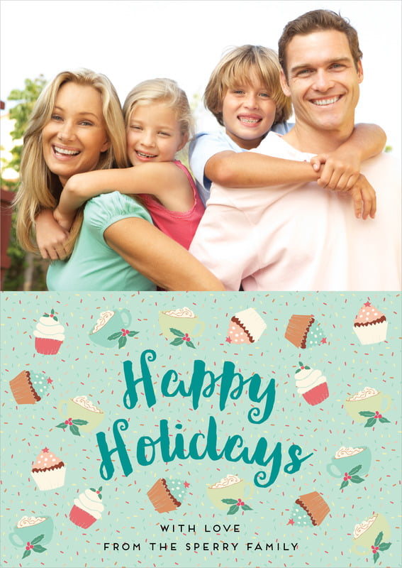 holiday cards - mint - cupcake cheer (set of 10)