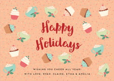 holiday cards - peach - cupcake cheer (set of 10)