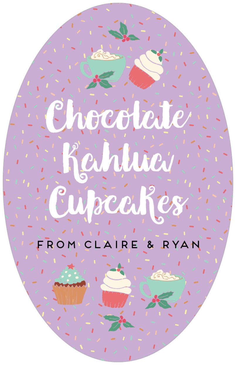 large oval food/craft labels - purple - cupcake cheer (set of 8)