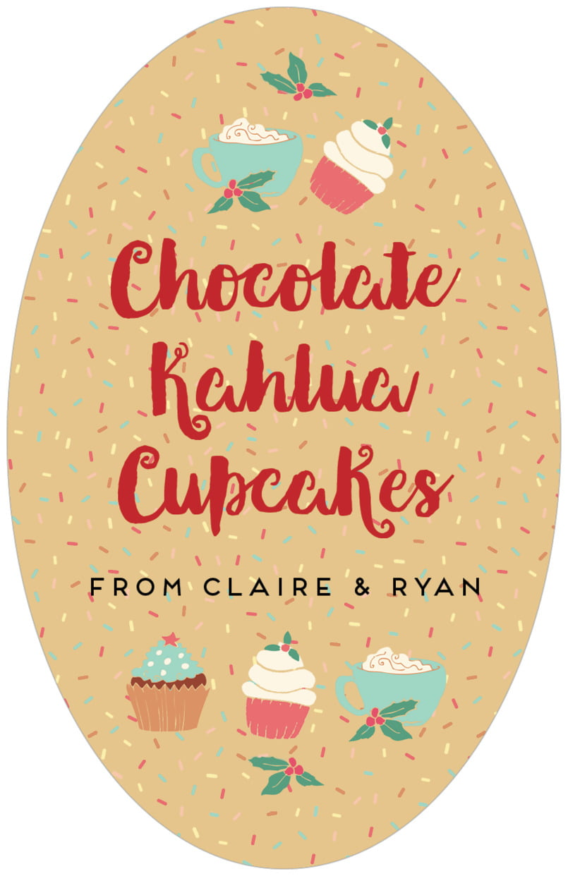 large oval food/craft labels - deep gold - cupcake cheer (set of 8)