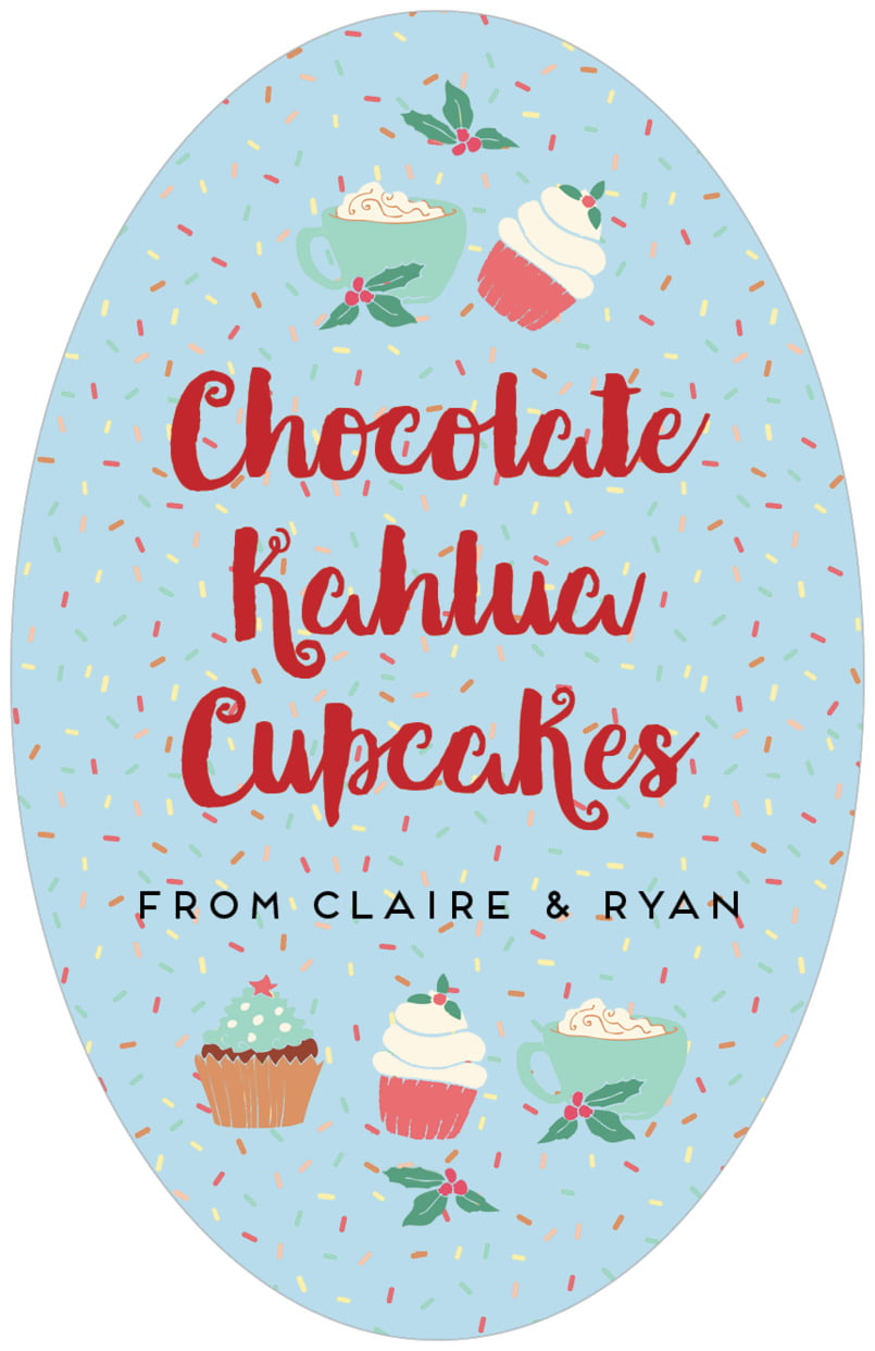 large oval food/craft labels - sky - cupcake cheer (set of 8)