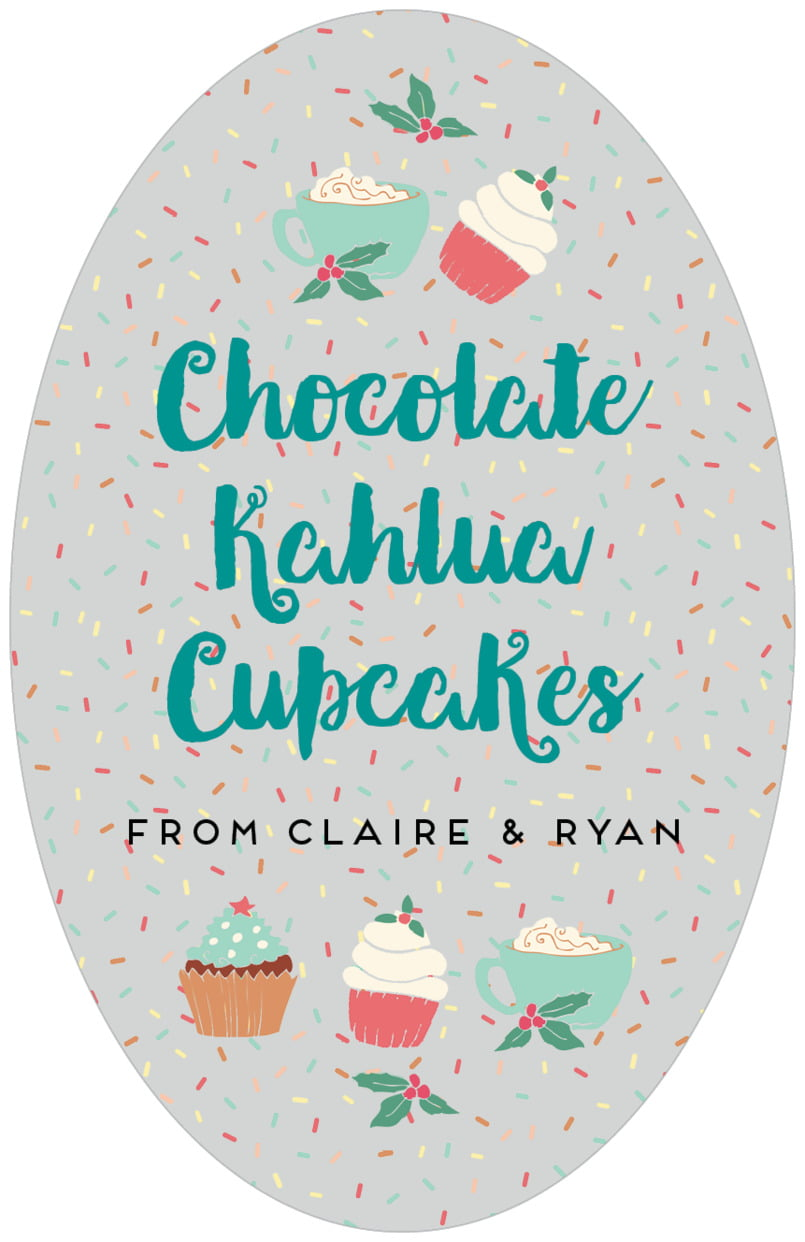 large oval food/craft labels - stone - cupcake cheer (set of 8)