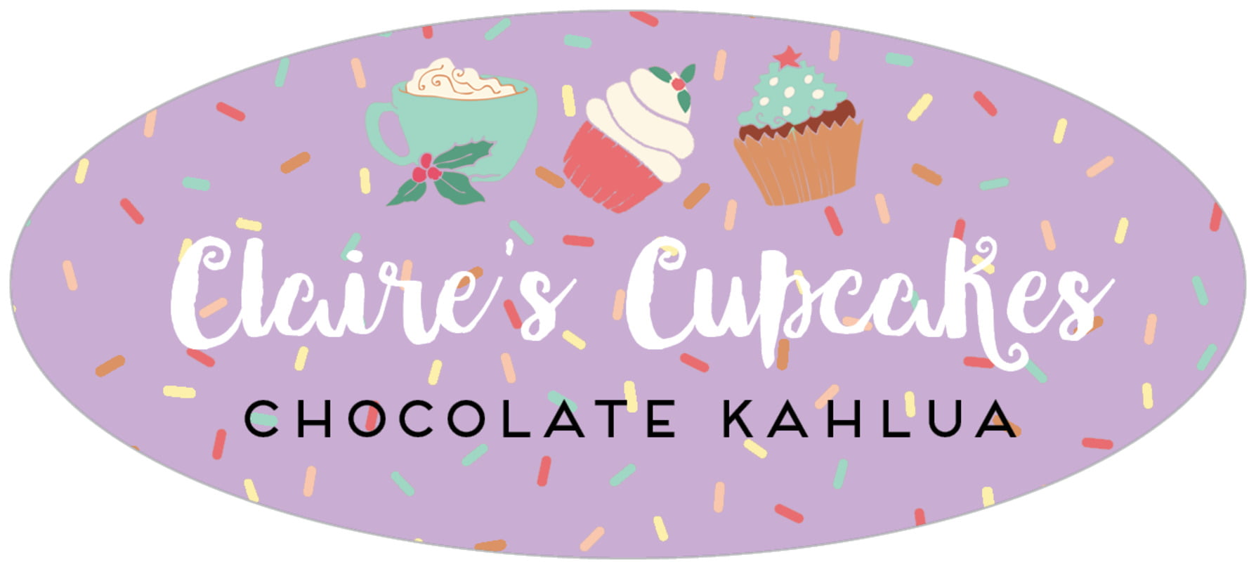 oval food/craft labels - purple - cupcake cheer (set of 30)