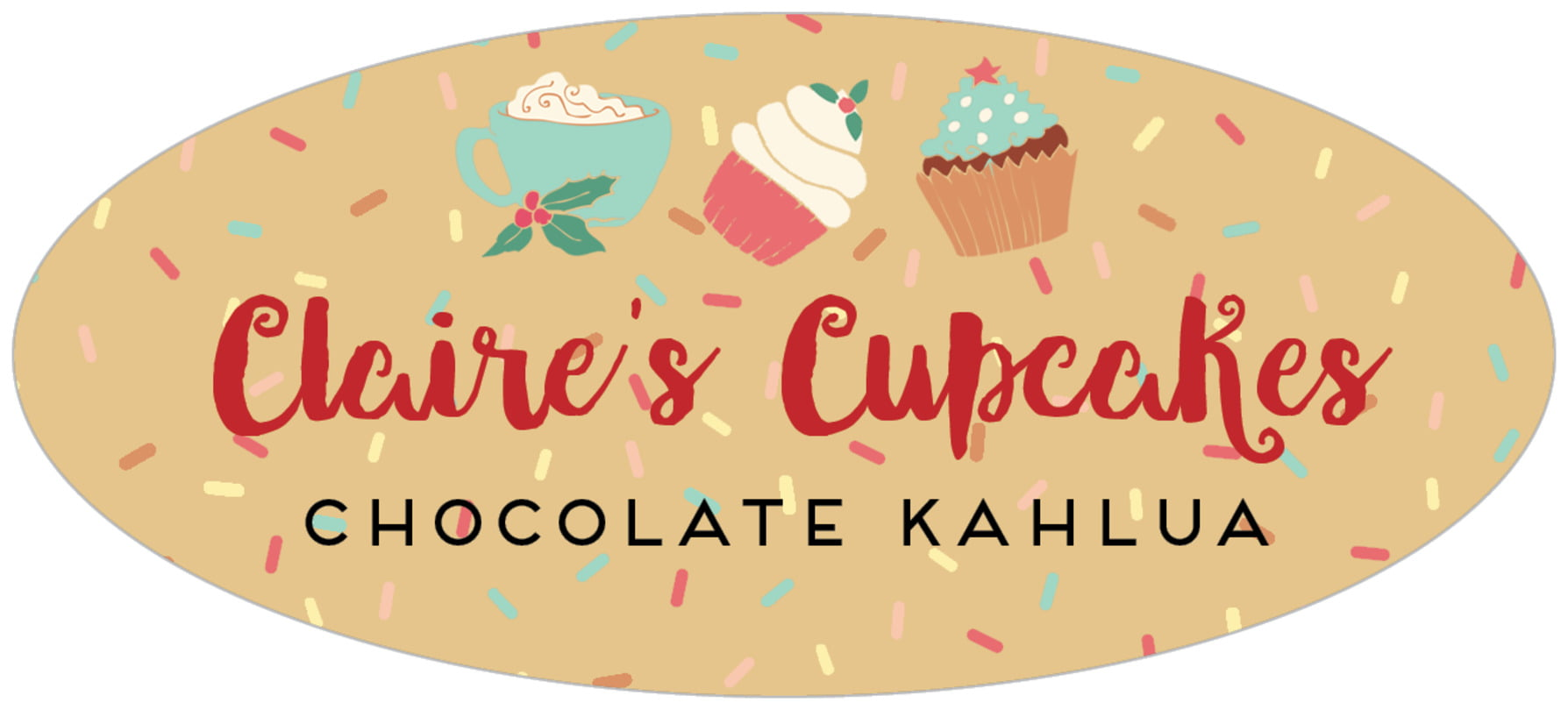 oval food/craft labels - deep gold - cupcake cheer (set of 30)
