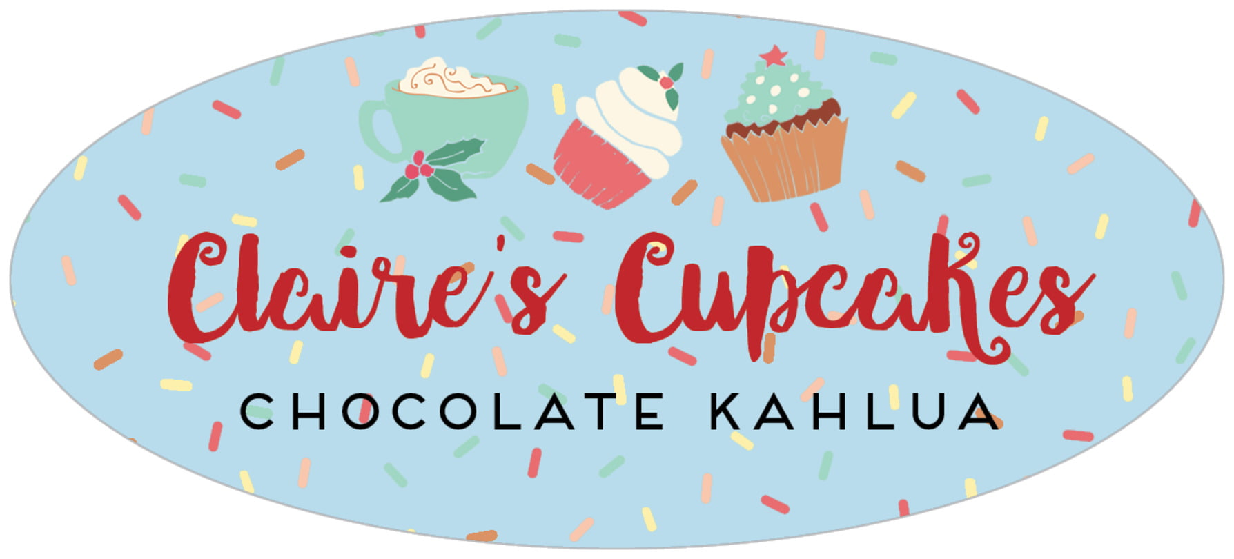oval food/craft labels - sky - cupcake cheer (set of 30)