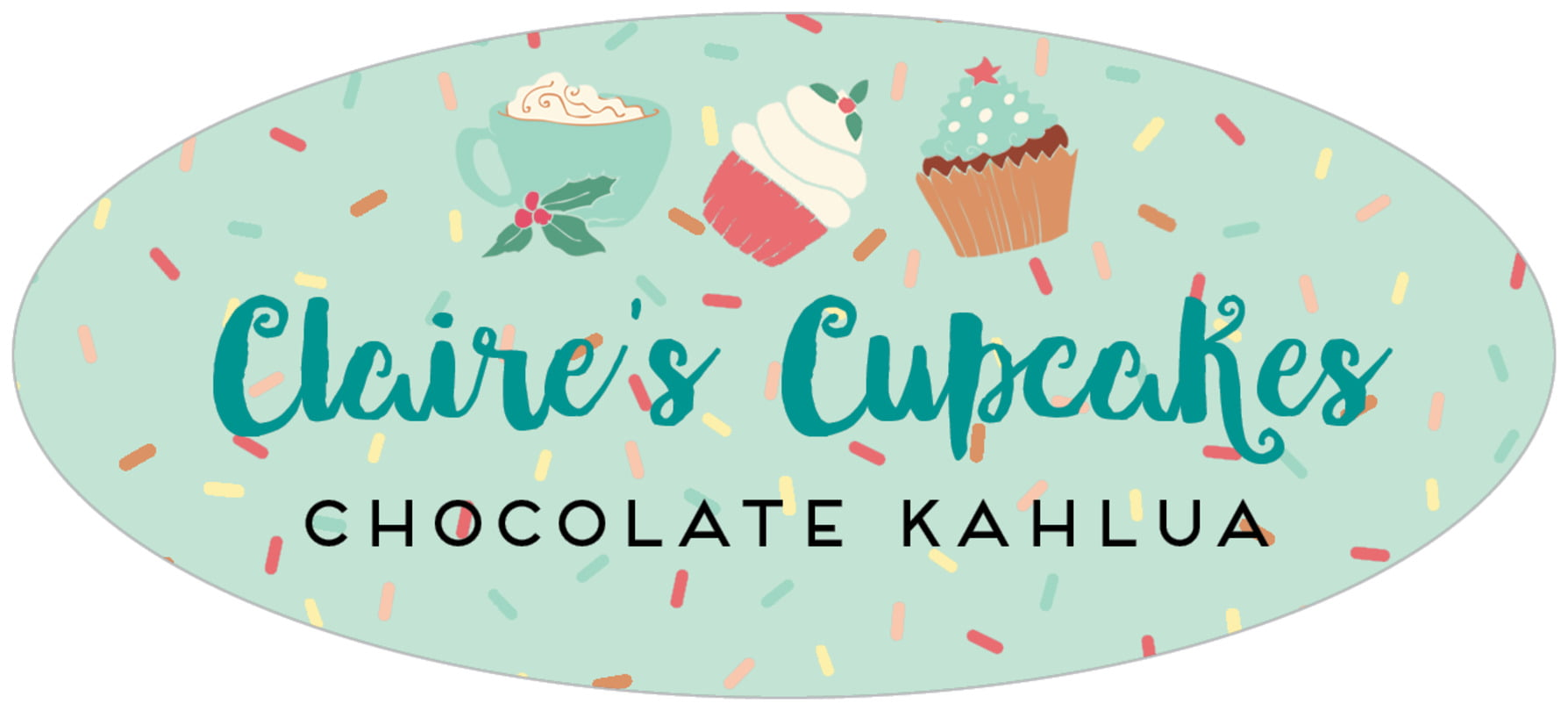 oval food/craft labels - mint - cupcake cheer (set of 30)
