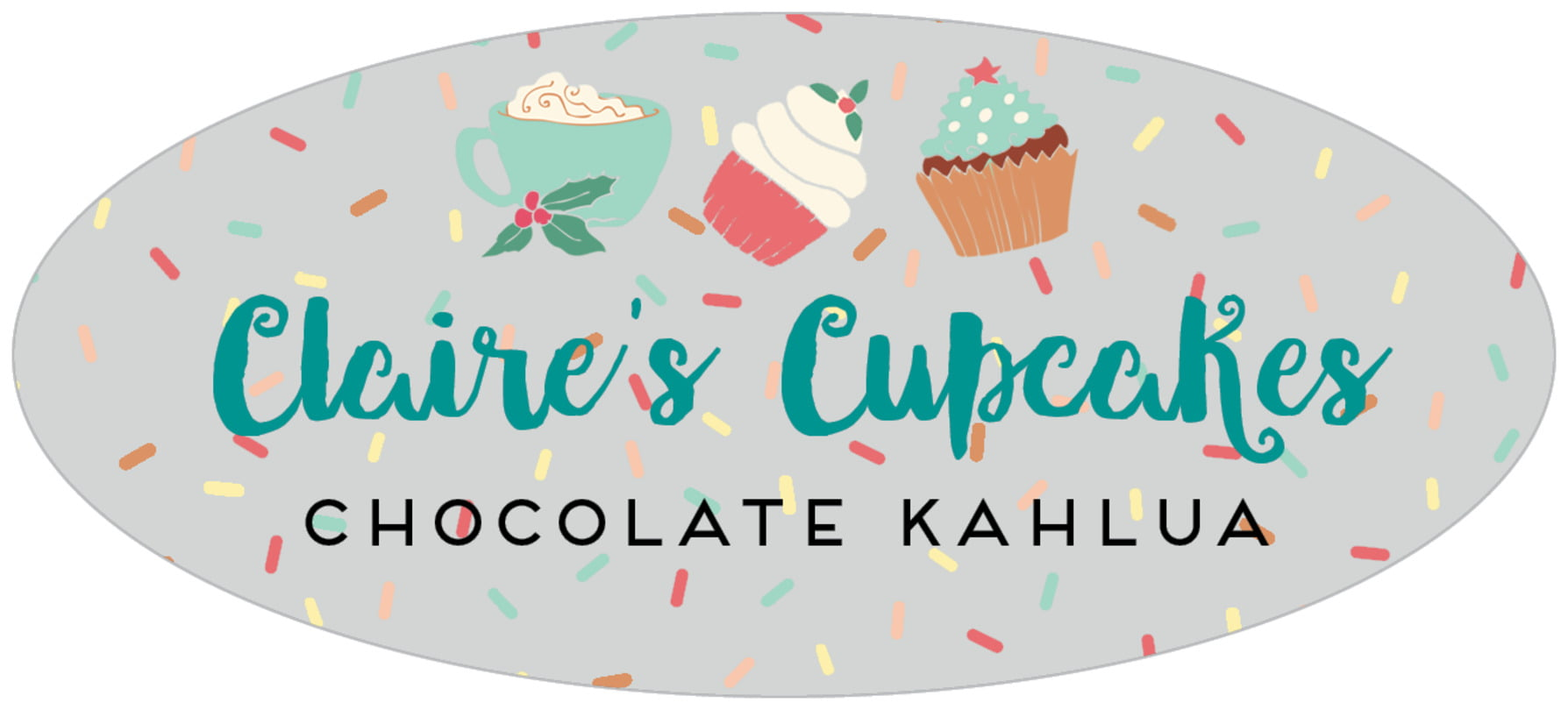 oval food/craft labels - stone - cupcake cheer (set of 30)