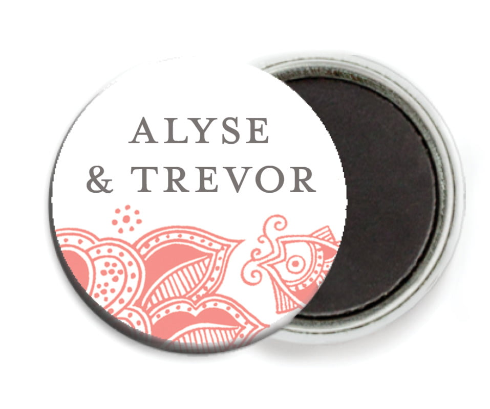custom button magnets - coral - sea & sky (set of 6)