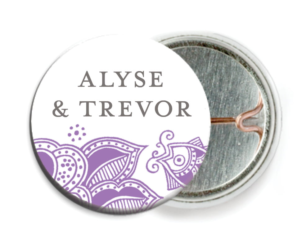custom pin back buttons - plum - sea & sky (set of 6)