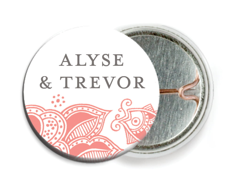 custom pin back buttons - coral - sea & sky (set of 6)