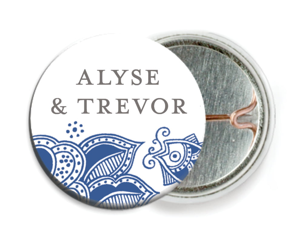 custom pin back buttons - deep blue - sea & sky (set of 6)