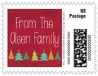 Christmas Tree Small Postage Stamp In Deep Red