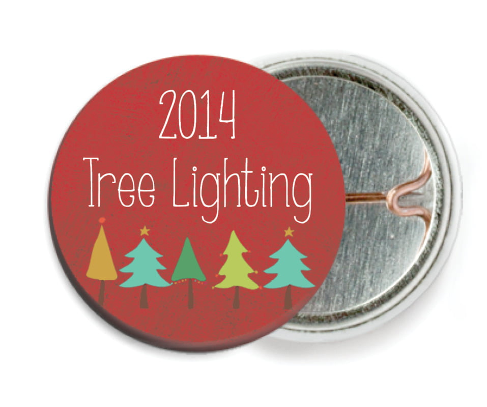 custom pin back buttons - deep red - christmas tree (set of 6)