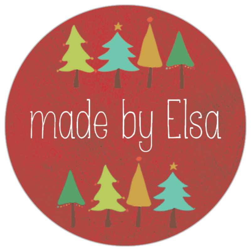 small circle food/craft labels - deep red - christmas tree (set of 70)