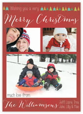 Christmas Tree Photo Cards - Vertical In Deep Red