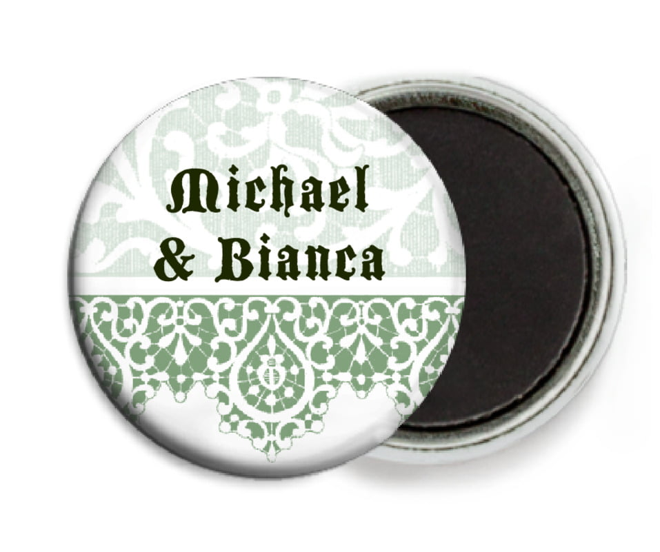 custom button magnets - sage - lace (set of 6)
