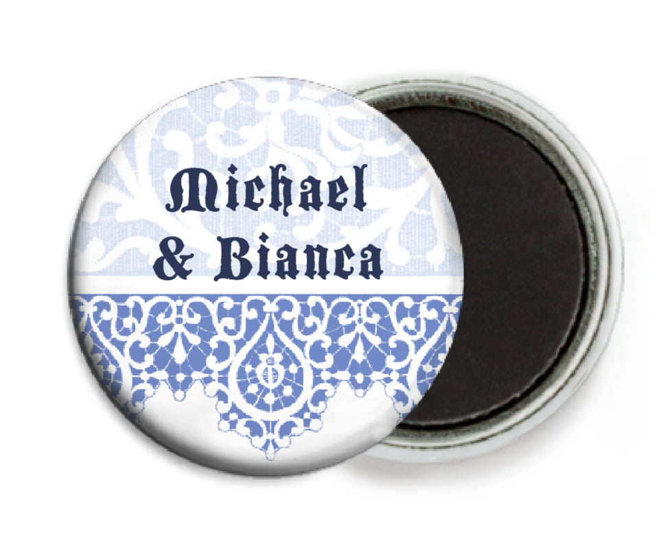 custom button magnets - periwinkle - lace (set of 6)