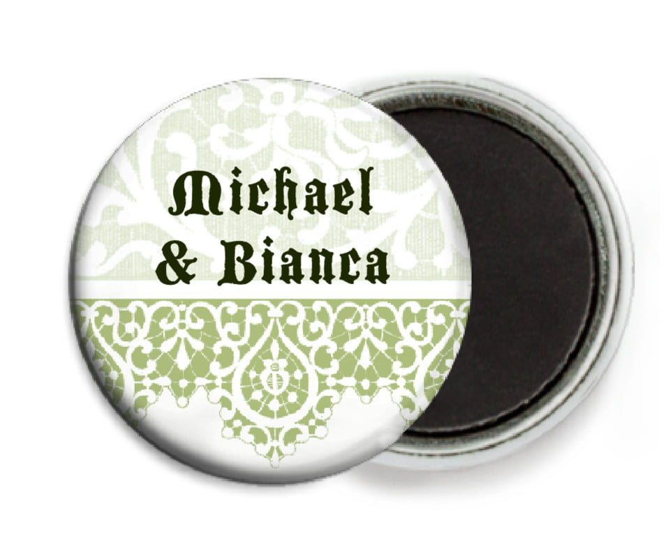 custom button magnets - green tea - lace (set of 6)