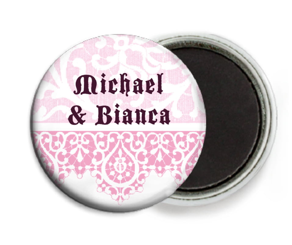 custom button magnets - pale pink - lace (set of 6)