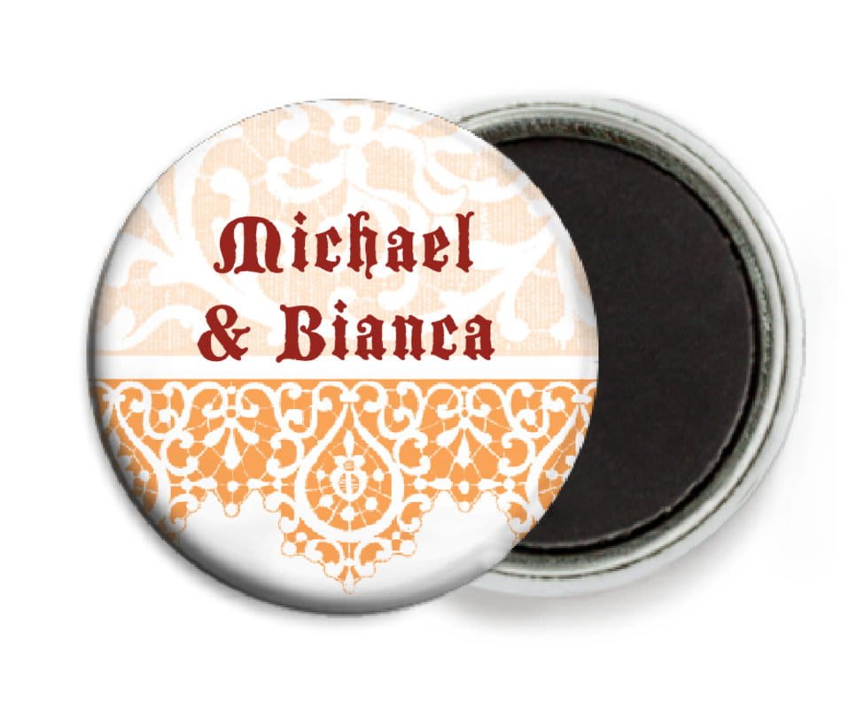 custom button magnets - tangerine - lace (set of 6)