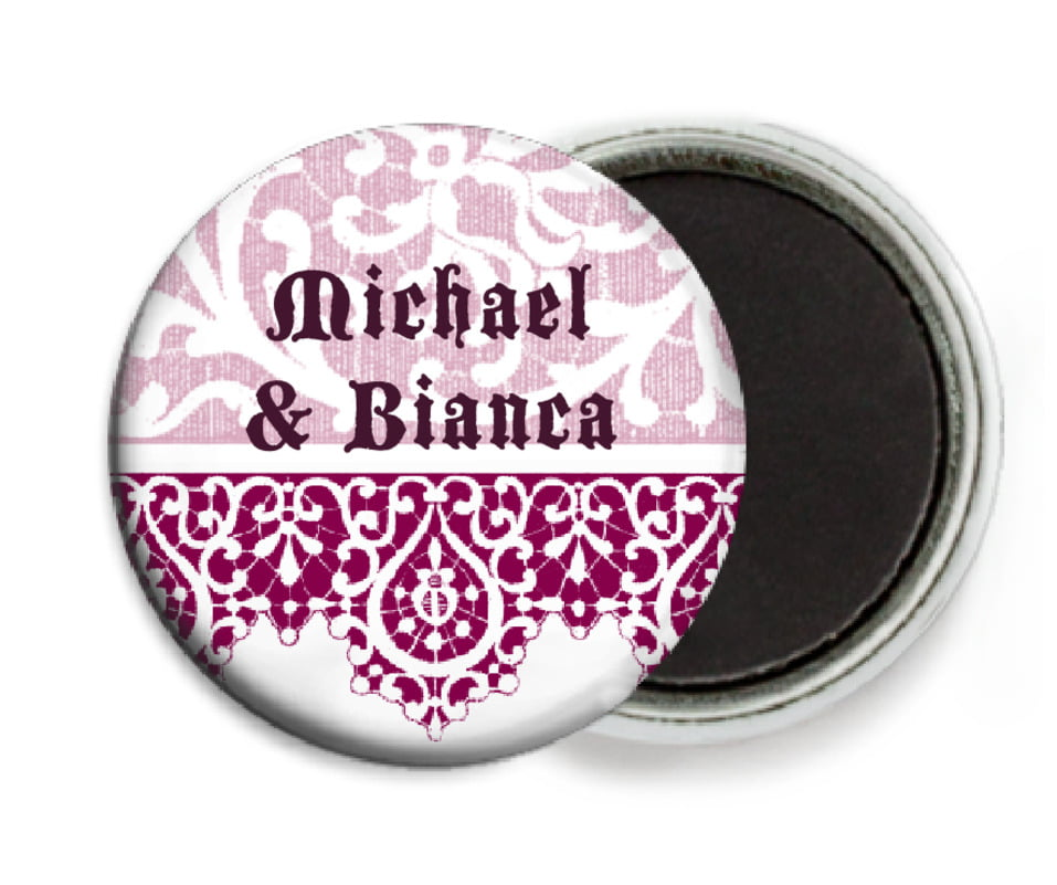 custom button magnets - burgundy - lace (set of 6)