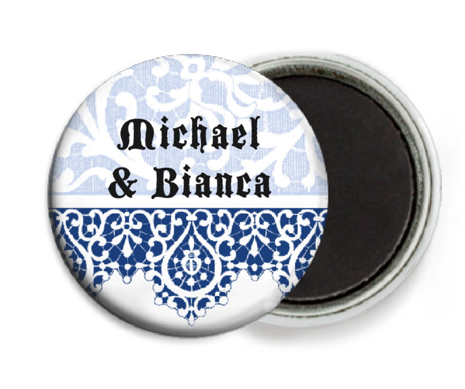 custom button magnets - deep blue - lace (set of 6)