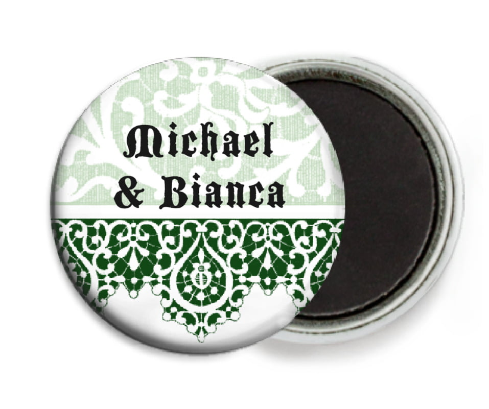custom button magnets - deep green - lace (set of 6)
