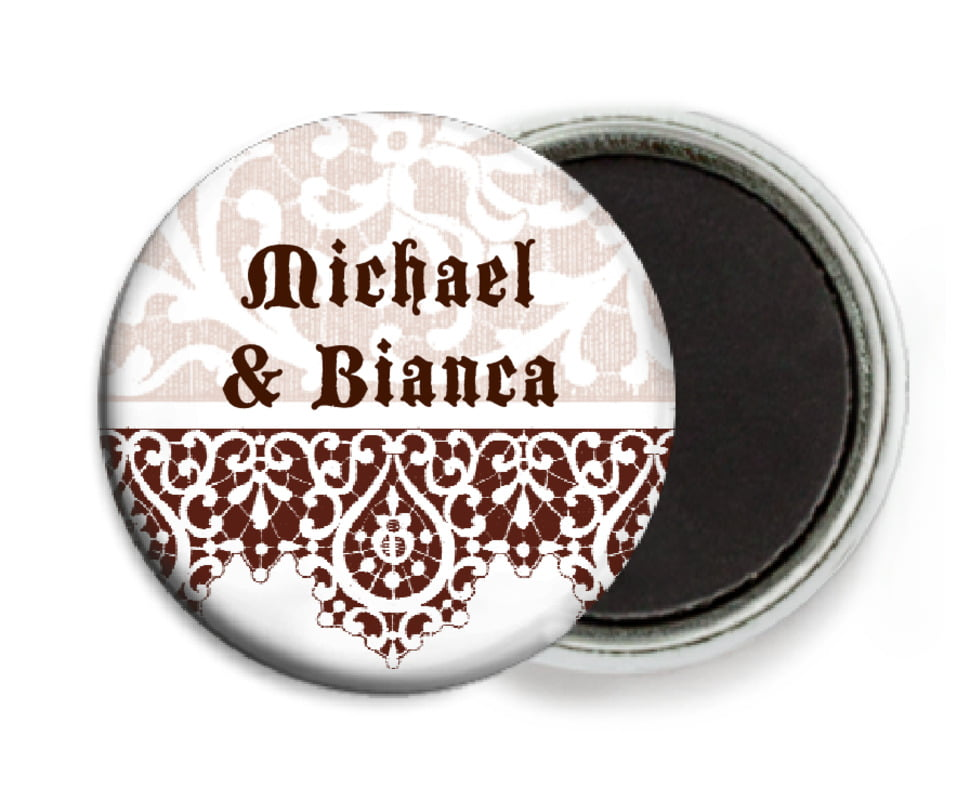 custom button magnets - chocolate - lace (set of 6)