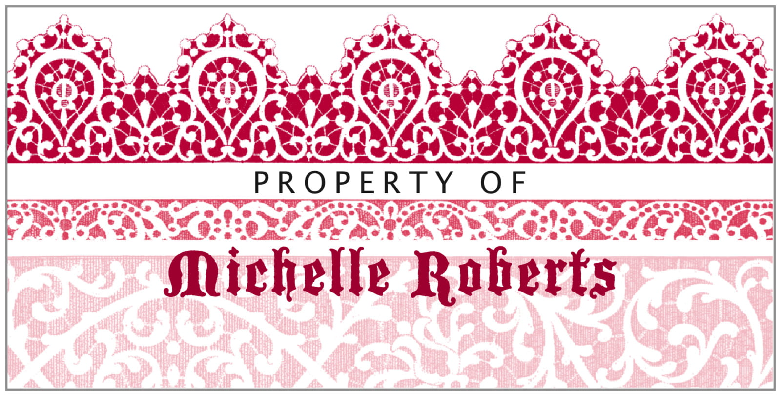 bookplates for everyone - deep red - lace (set of 24)