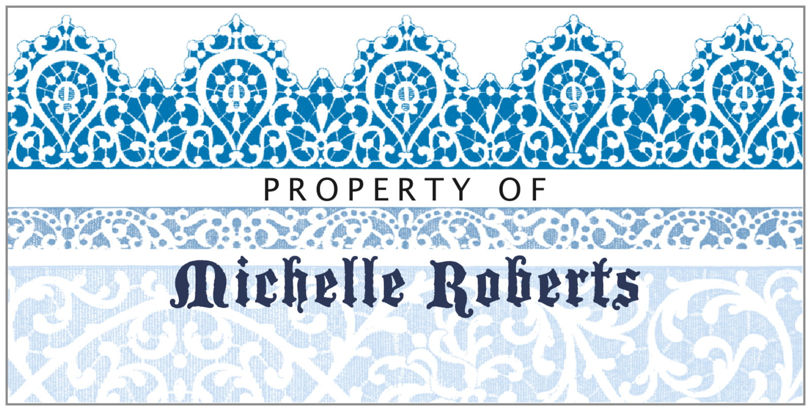 bookplates for everyone - blue - lace (set of 24)