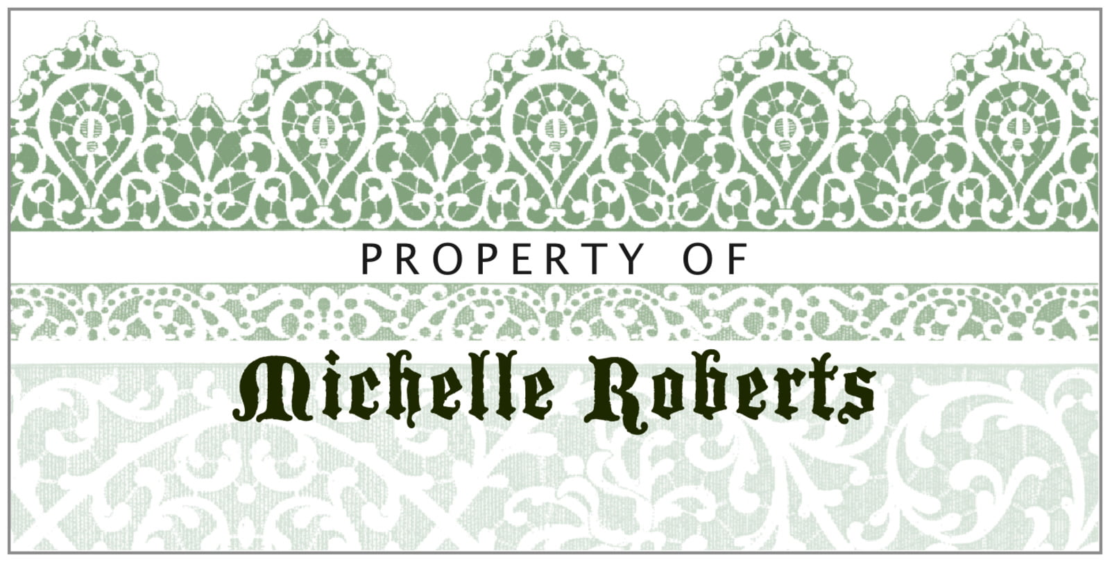 bookplates for everyone - sage - lace (set of 24)