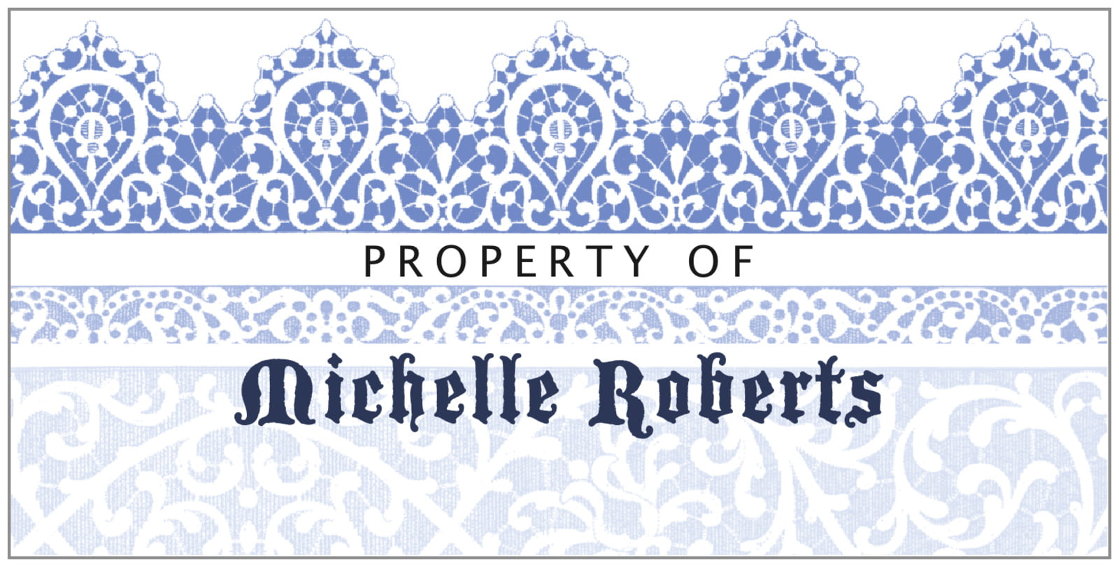bookplates for everyone - periwinkle - lace (set of 24)