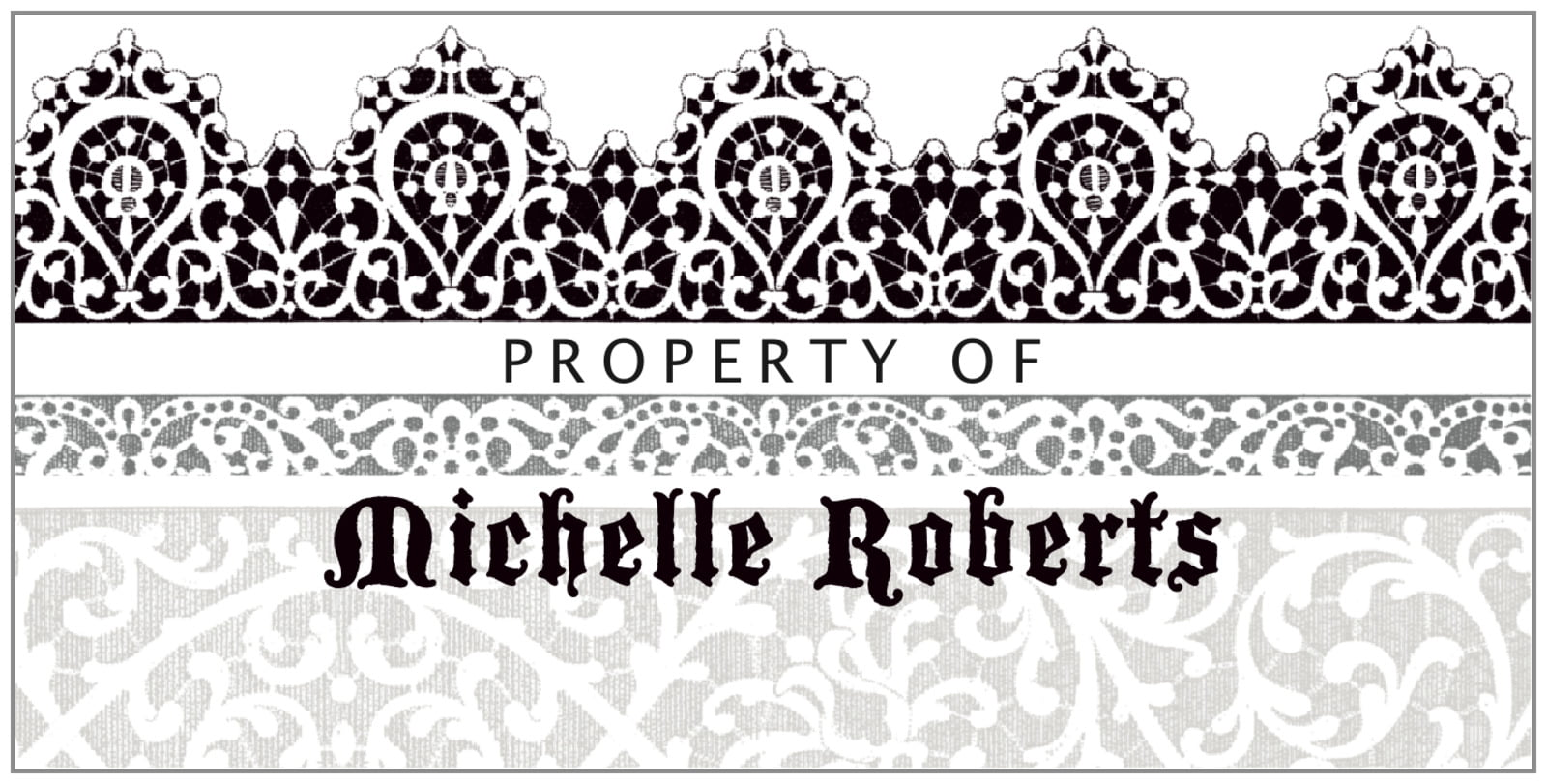 bookplates for everyone - tuxedo - lace (set of 24)