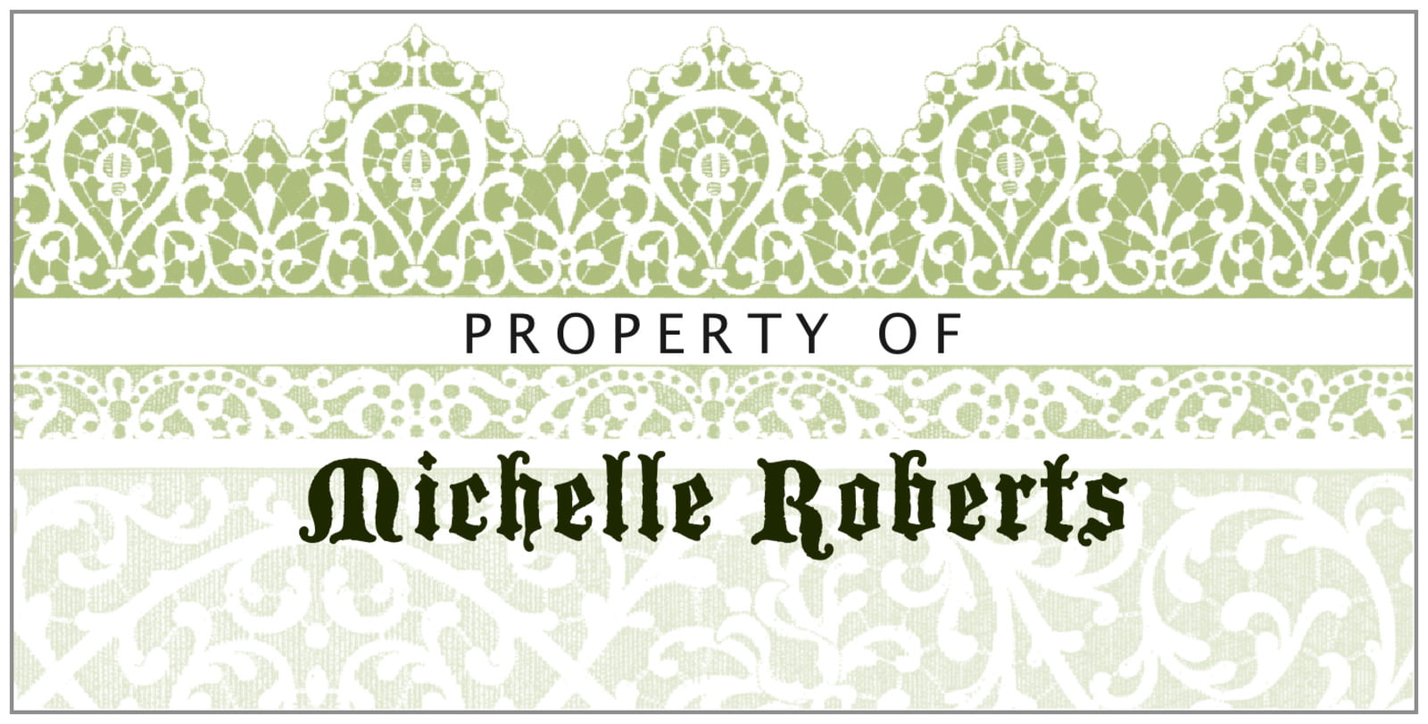 bookplates for everyone - green tea - lace (set of 24)