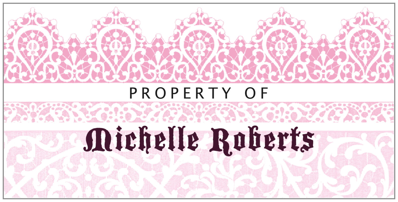 bookplates for everyone - pale pink - lace (set of 24)