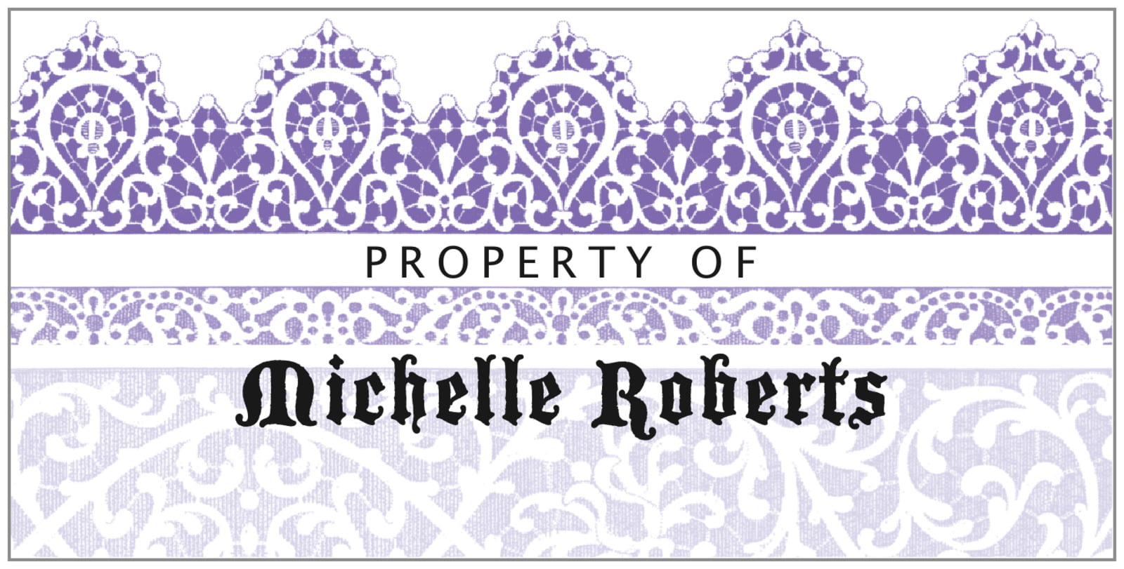 bookplates for everyone - lilac - lace (set of 24)