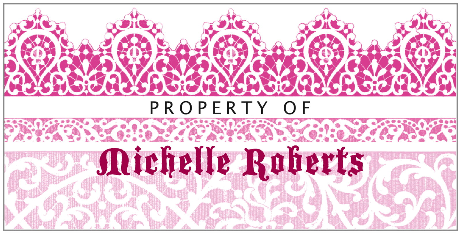 bookplates for everyone - bright pink - lace (set of 24)