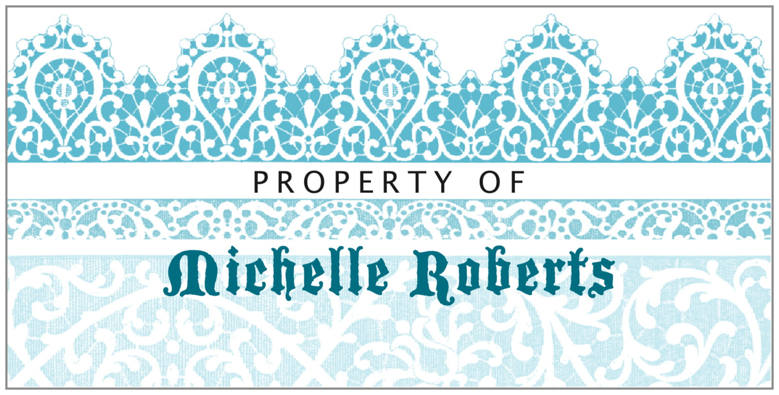 bookplates for everyone - bahama blue - lace (set of 24)
