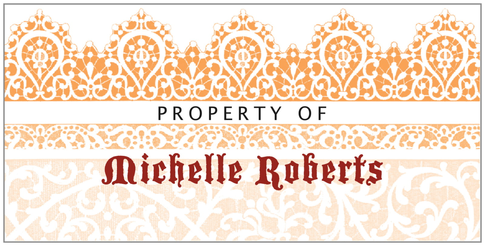bookplates for everyone - tangerine - lace (set of 24)