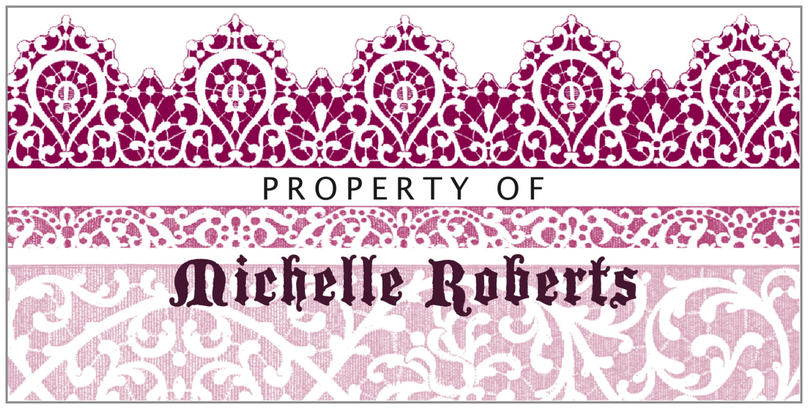 bookplates for everyone - burgundy - lace (set of 24)